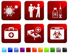 Hazard Virus Sickness and Vaccination royalty free vector icon set vector art illustration