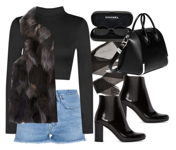 """""""Untitled #3865"""" by lilaclynn ❤ liked on Polyvore featuring M.i.h Jeans, WearAll, Yves Saint Laurent, Barneys New York, Chanel, Givenchy, YSL, saintlaurent and yvessaintlaurent"""