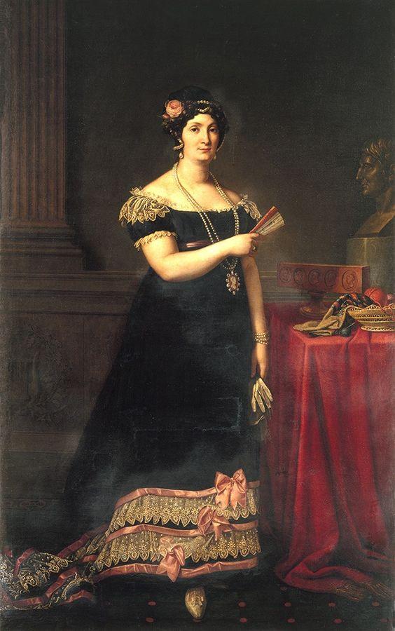 ca. 1815 Alexandrine Bonaparte, née de Bleschamp by Carlo Maria Viganoni (Schweizerischen Nationalmuseums - Château de Prangins, Prangins, Vaud, Switzerland)   Grand Ladies   gogm: