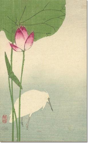 Hasu ni shirasagi by Baison, fl. 1890-1893, artist     Title Translation: White heron and lotus.