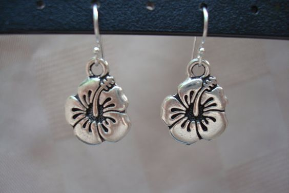Hibiscus Earrings  Great for summer!  Another of my jewelry designs. Visit CataniJewels on Etsy for more designs.