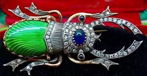 $26000 Imperial Russian Faberge Gold&2ct DIAMONDS,Sapphires&Enamel Beetle Brooch: