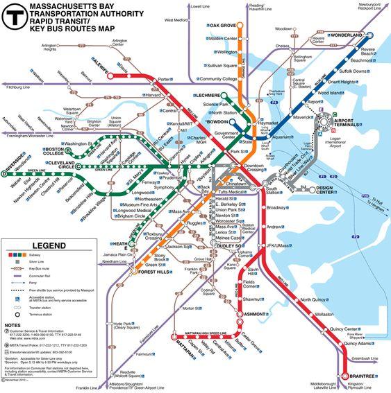 """Von MBTA betrieben (Massachusetts Bay Transportation Authority) bekannt als """"T"""", für sein Logo, eine Buchstabe """"T"""". Im Rahmen der öffentlichen Verkehrsmittel, Boston hat ein U-Bahn-System, (Metropolitan U-Bahn U-Bahn-Boston) mit 4 Linien ergänzt durch ein Leicht Bahn-System, bestehend aus 5 Linien, die grüne und rote Linien sind Erweiterungen. Insgesamt 12 S-Bahnen, 4 Fährverbindungen, 4 O-Bus-Linien und 183 Bus, 1897 eröffnet, hatte es einen Tunnel, zwischen Park St und Boylston Stationen…"""