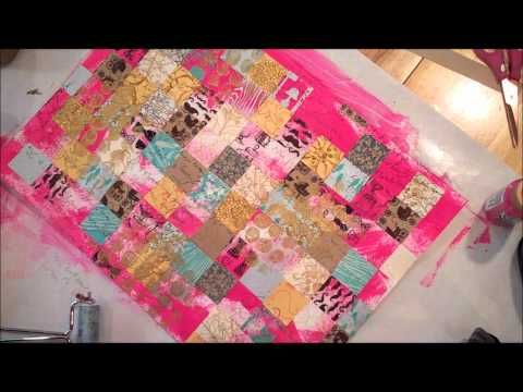 ▶ Art Journal Collage Background - YouTube. Patchwork like background. I actually liked it much better before she added the white paint. Would make a great Masterboard. First 5 minutes are on the background. Rest of the video is the hearts and text.