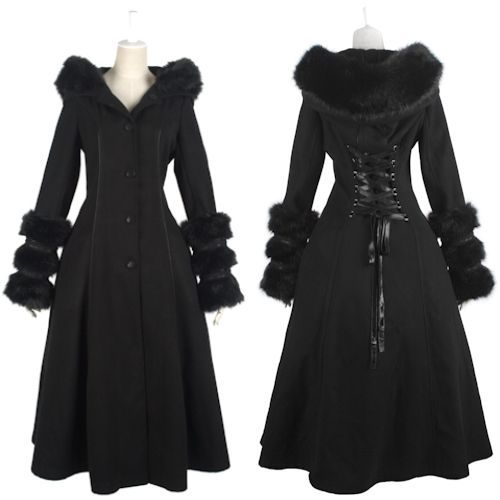 goth outfits for women  Womens Black Reversible Long Gothic Coats ...