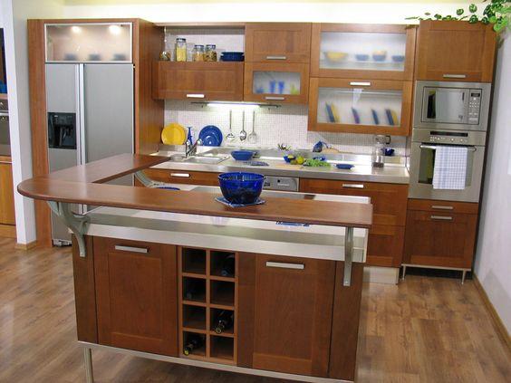 kitchen counter top designs | Kitchen Design > L Shape Island Wood Countertop Small Kitchen Design ...
