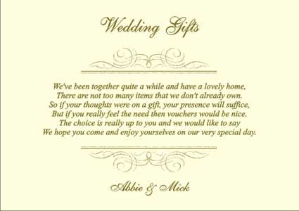 Wedding Gift List Poems Honeymoon : wedding gift list and more gift list wedding wedding gift list poem ...