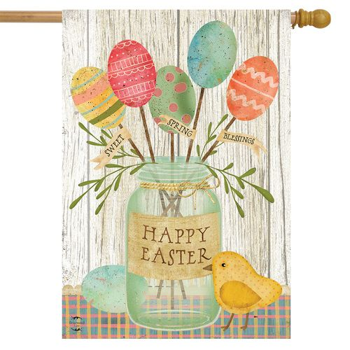 Spring Egg Bouquet Easter House Flag In 2020 House Flags Flag