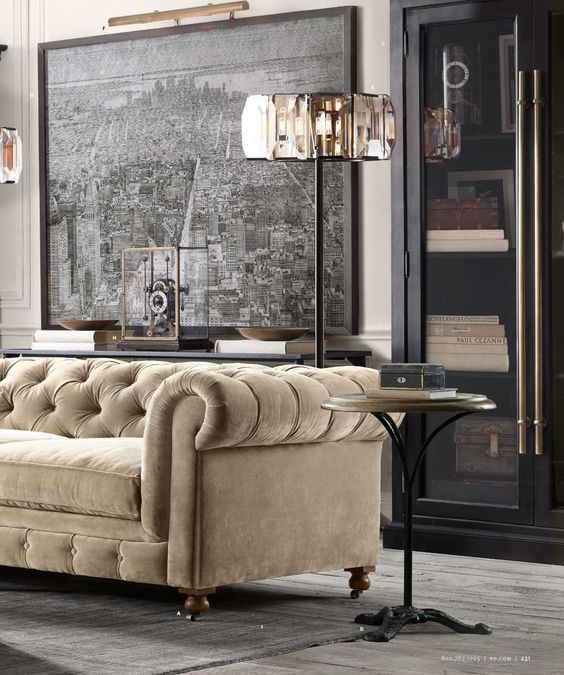 Art Deco and American Industrial style in harmony. Restoration Hardware Source Books