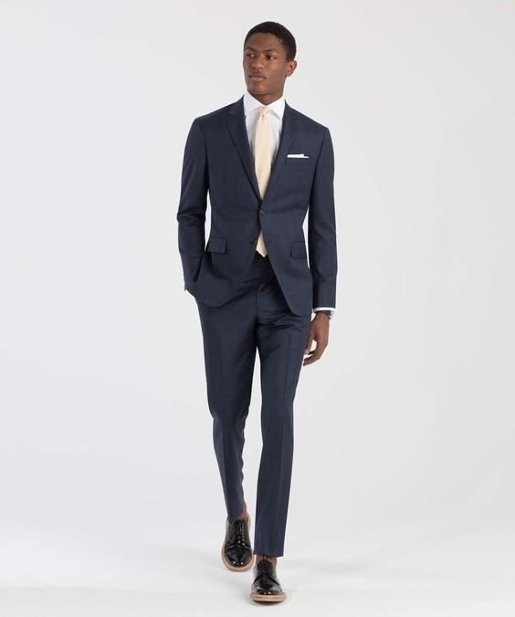 The Mayfair Suit in Dark Blue Plaid