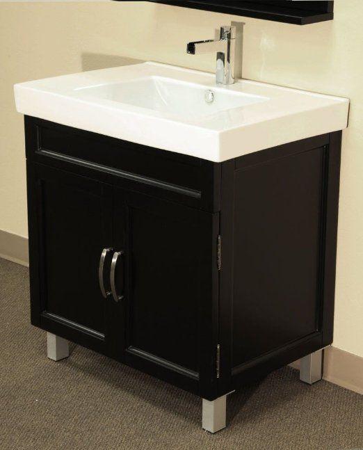 Powder Room Bathroom Vanities: 31.5 In. Single Sink Vanity In Black