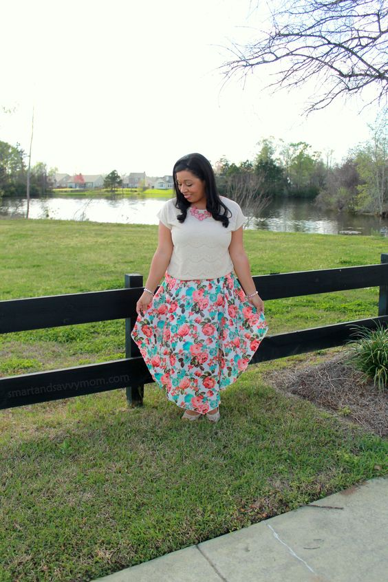 scalloped lace beige tee and mint and coral floral chiffon arrow maxi skirt modest outfit