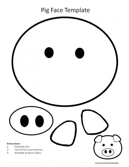 Printable Template For Pig Face Animal Crafts Preschool Farm Animal Crafts Pig Crafts