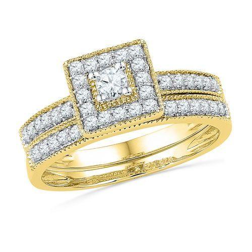 10kt Yellow Gold 1 2tw Round Diamond Bridal Rings Set By Rg D Gold Diamonds Diamond Bridal Ring Sets Diamond Wedding Rings Sets Pave Diamond Wedding Ring
