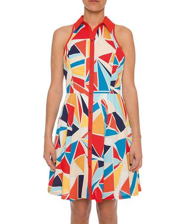 Love this Red & Blue Abstract Shirt Dress by Lavand on #zulily! #zulilyfinds
