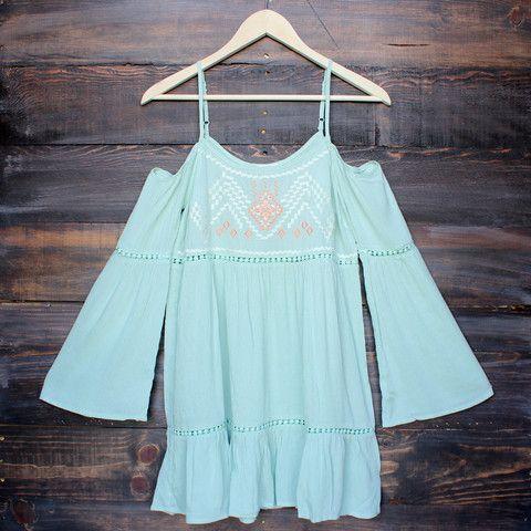 cold shoulder gauze embroidered boho shift mini dress - sage