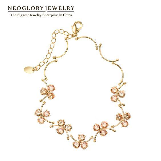 Neoglory Mode 14 K Plaqué Or Fleur Bracelets et Bracelets Les Adolescents Filles 2016 Nouveaux Cadeaux D'anniversaire Bijoux JS3 Flo-y(China (Mainland))
