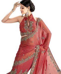 Sari Bollywood Shriya Saumon et Vert