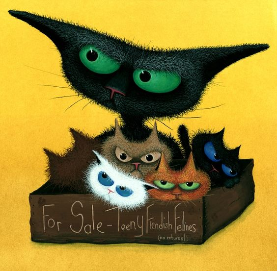 """ARTFINDER: Teeny Fiendish Felines for Sale by Tamsin Lord - From an original painting by Tamsin Lord which portrays a whole box of teeny fiendish feline trouble! This signed giclee print is sold in a 14"""" x 14"""" white ..."""