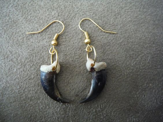 Large Wolf Brush Claw Earrings on Gold Plated by EarthFireWind