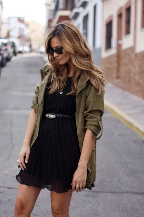 make a evening LBD day appropriate with a slouchy, simple army jacket - additionally, totally on trend for fall
