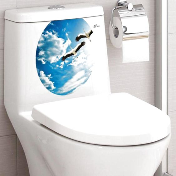 DIY Toilet Seat Wall Sticker Decals Vinyl Art Paper Removable