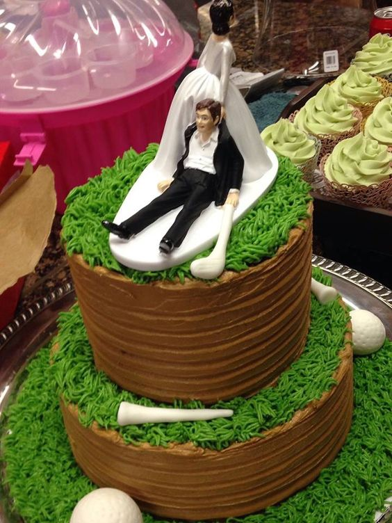Loved the grooms cake at my daughters wedding. Pulling the groom off the golf course. #golfgroomscake #groomscake #golf