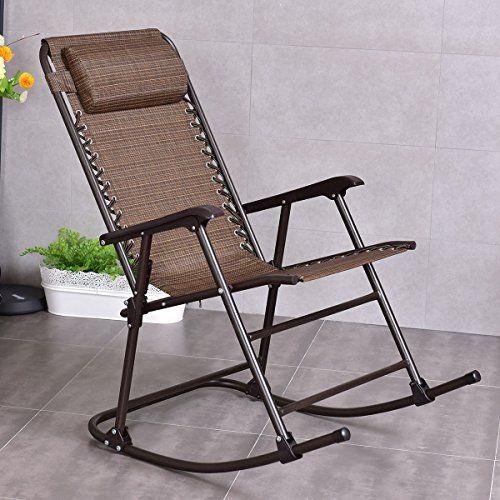goplus folding rocking chair recliner w
