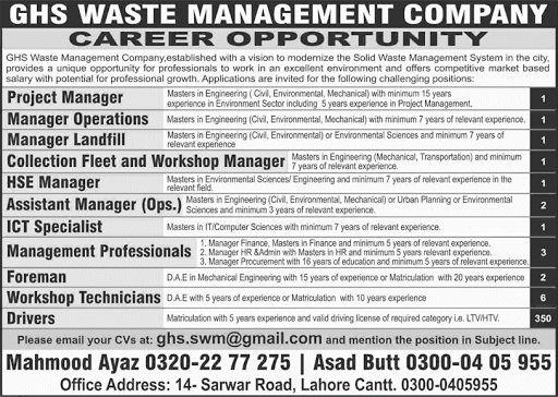 LWMC Jobs Lahore Waste Management Company Senior Management - managing director job description