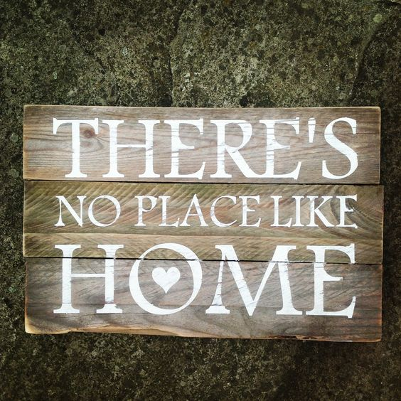 There's No Place Like Home. Hand made wooden sign. Quote. www.muddypuddledesign.co.uk