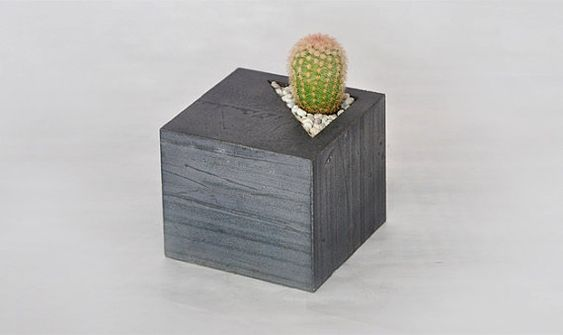 Concrete cube succulent planter by LAbCfurniture on Etsy, .00: