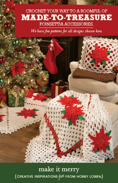 Hobby Lobby Project - Make It Merry - crochet, pillows, poinsettia, patterns, free, Christmas ...
