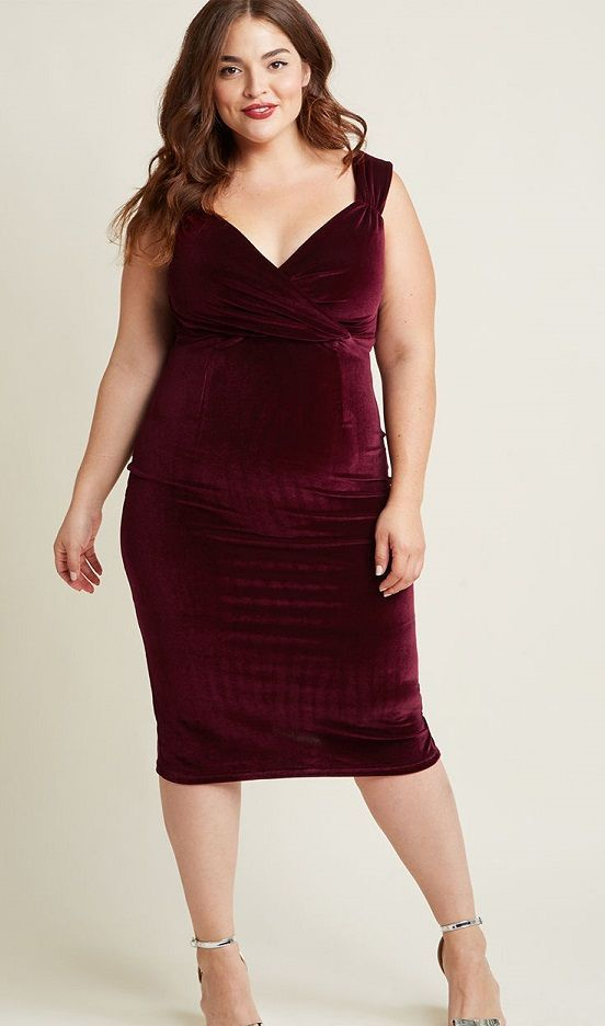 Burgundy Plus Size Dresses for Women - On Trend Plus Size ...