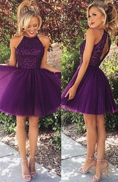 USD $135--Gorgeous Short Beadings Prom Homecoming Dress Purple From www.27dress.com