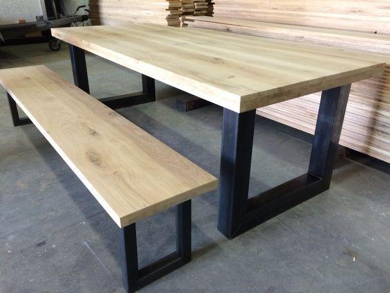 Massief eiken tafel + bankje U staal www.kaldenbach-meubels.nl