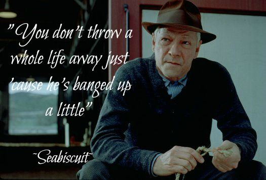 You don't throw a whole life away just because he's banged up a little.        seabiscuit quotes:
