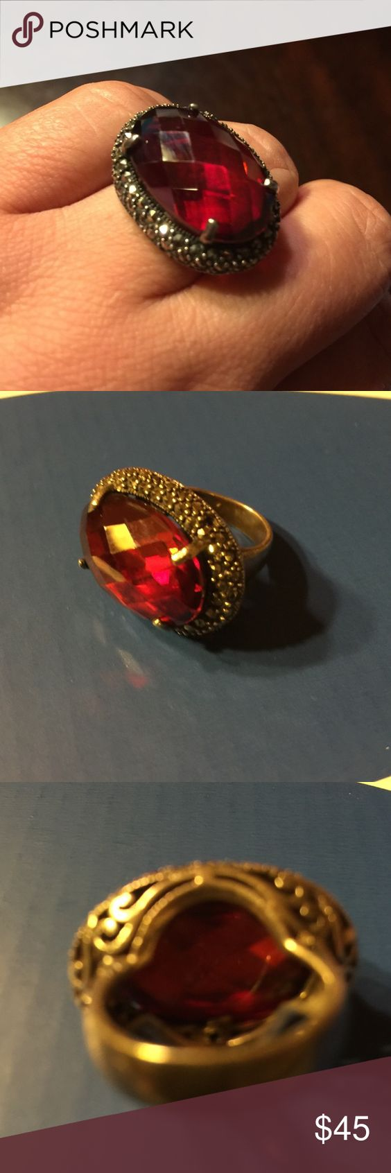925 Sterling silver Gorgeous red ring This ring is so pretty!!!! Jewelry Rings