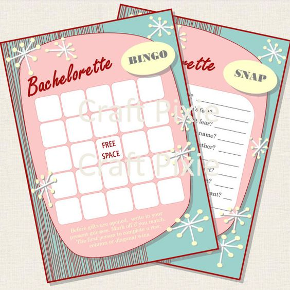 Bachelorette Bingo and Quiz Game in a 1950s retro theme by TheCraftPixie
