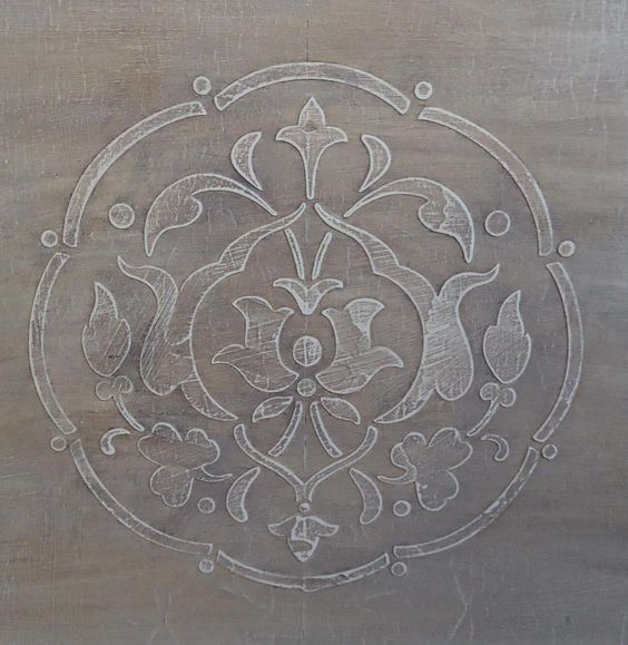 Glazed embossed stencil, this can be applied to your furniture or walls, many, many designs to choose from. Contact info: Karen 713 857 2618