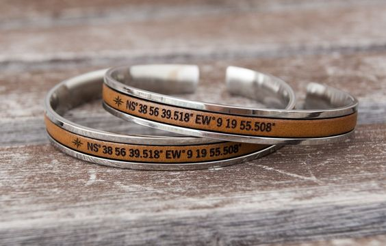 Long Distance Gift for Couples Matching GPS Coordinates Bracelets