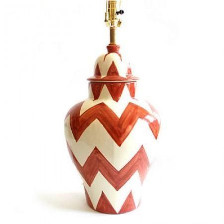Burnt #Orange #ZigZag #Lamp : Emilia Ceramics #HomeDecor #Chevron