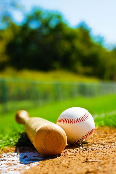 Baseball, bat & summer day-perfect