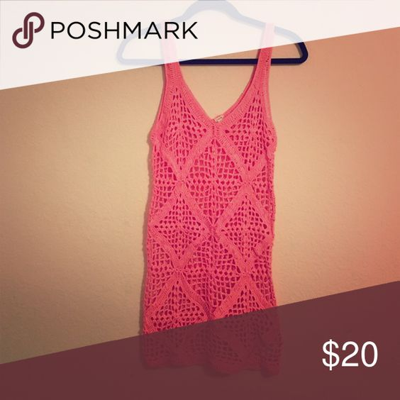 Hot Pink Crochet Dress Forever 21 With Images Crochet Dress Crochet Cover Up Crochet