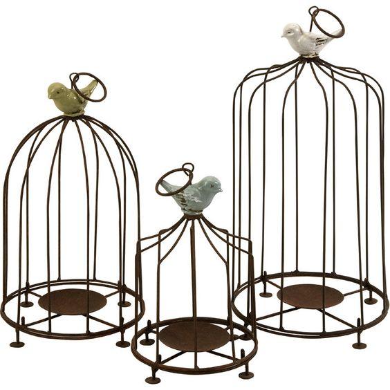 3 Piece Birdcage Candleholder Set : cute gift