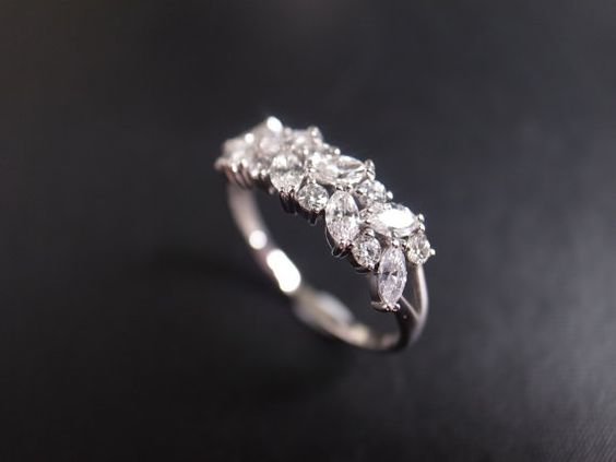 Marquise Diamond Engagement Ring in 14K White Gold - LOVE THIS!