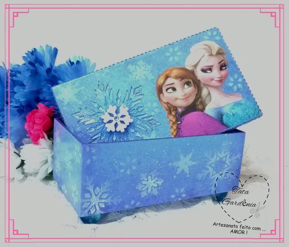 Caixa Decorada Frozen: técnicas artesanais de pintura aquarelada, chuvinha americana, stencil e decoupage.