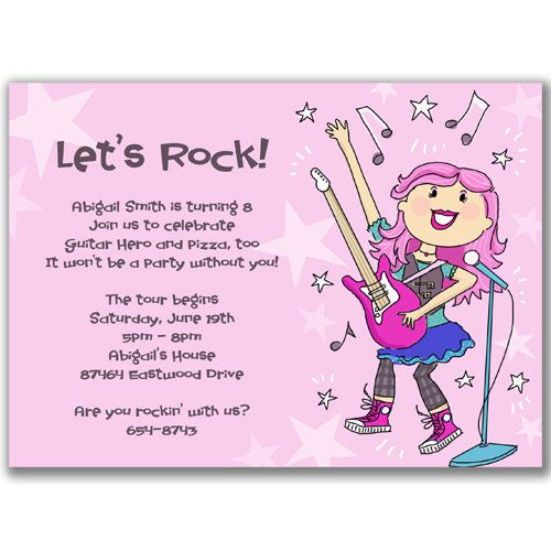 Rock Star Girl Invitations For A Kids Birthday Party By Milelj