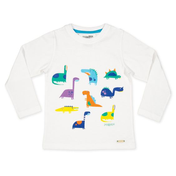 Long sleeve T shirt with colorful dinosaur print by PIPI & PUPU kids(art)wear