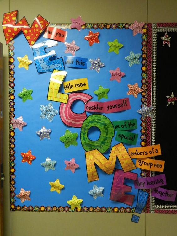 Pinterest education welcome back bulletin board first of for Back to school board decoration