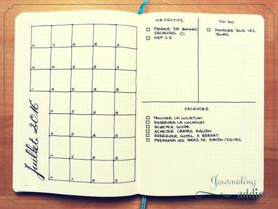bullet journal calendrier pages mensuelles 2                                                                                                                                                     Plus